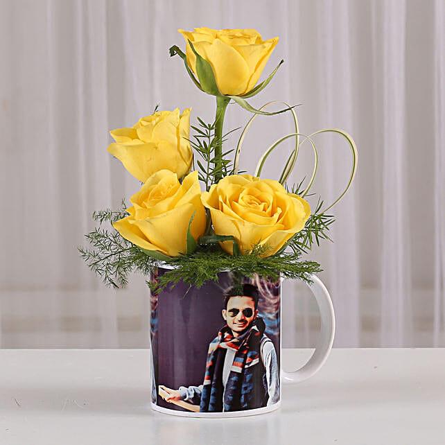 Yellow Roses in Personalised Mug: Custom Photo Coffee Mugs