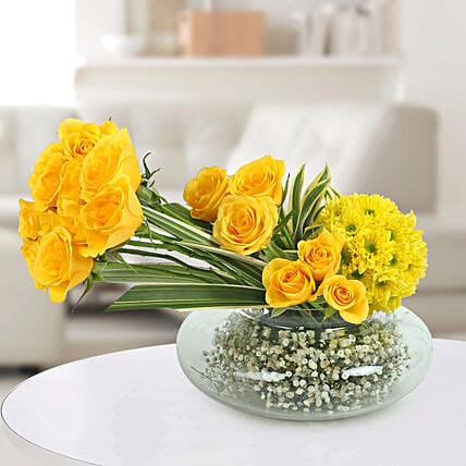 Yellow Roses N Daisies Arrangement: Gifts for Wedding