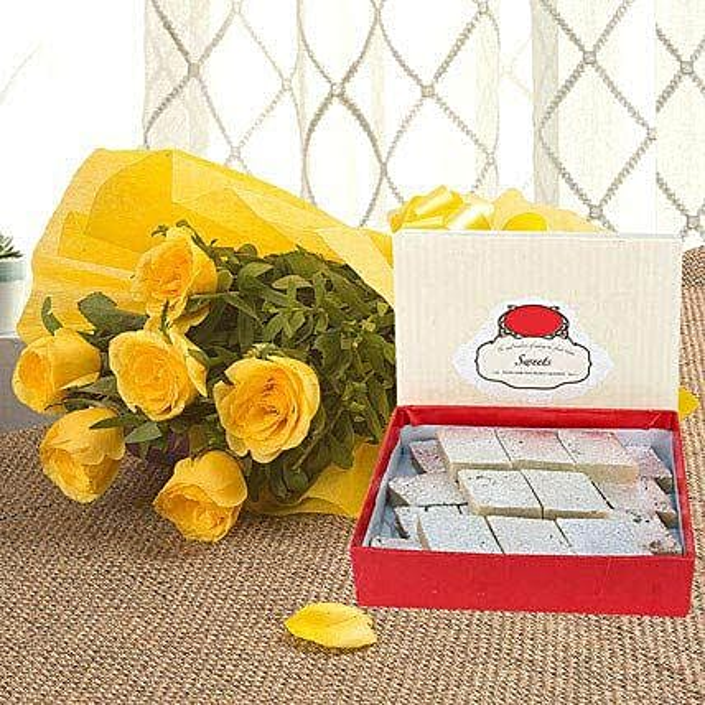 Yellow Roses N Kaju Katli: Flower N Sweets