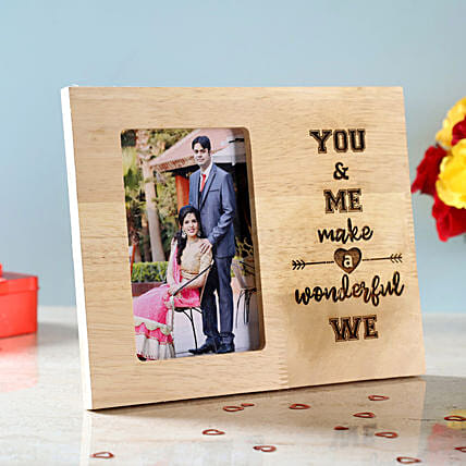 You & Me Engraved Wooden Photo Frame: Valentine Personalised Gifts