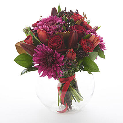 Dark Red Posy Send Birthday Gifts To New Zealand