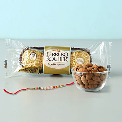 Rocher And Almonds With Designer Rakhi: Rakhi with Dryfruits to Qatar