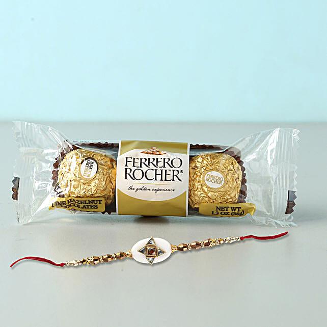 Stylish Rakhi And Rocher Combo: Rakhi with Chocolates to Qatar