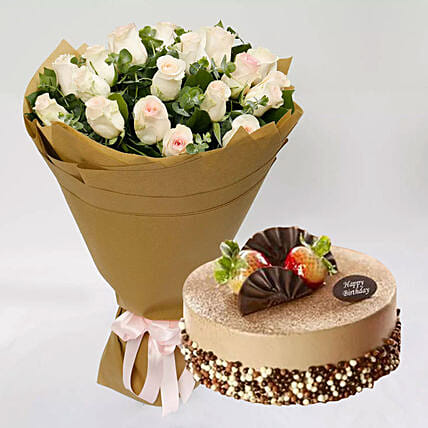 Mocha Cake and Peach Rose Bouquet: Send Flowers to Singapore