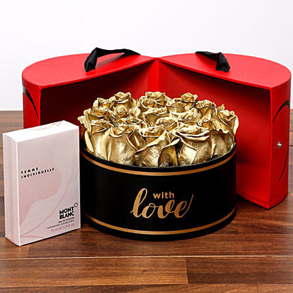 Grand Box Of Golden Roses and Perfume: Dubai Flower Delivery