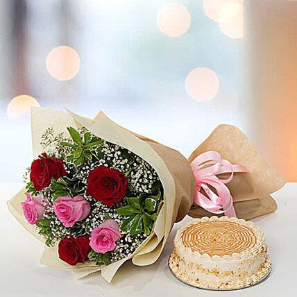 Delightful Roses Bouquet With Butterscotch Cake: Send Diwali Gifts to UAE