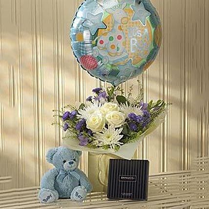 Blue Lullaby Balloon Teddy And Chocolates Gift Set Send Birthday Gifts To London