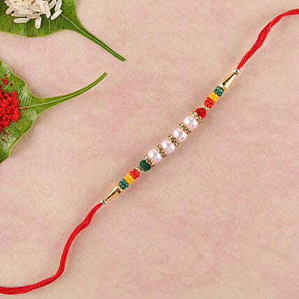 Colourful And Lively Beads Rakhi: