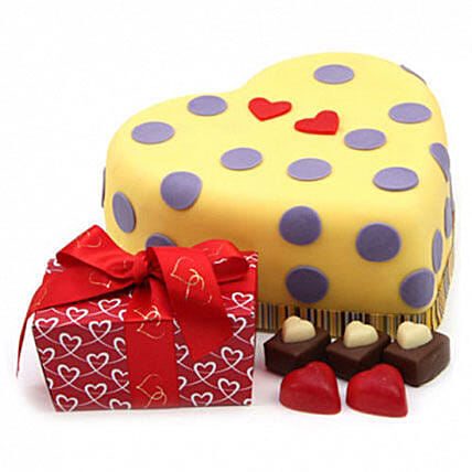 Hearts And Dots Cake Gift Birthday Delivery In UK