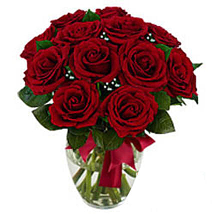 12 stem Red Rose Bouquet: Flower Delivery in USA