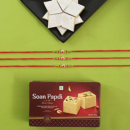 Alluring Rakhi Set And Sweet Boxes: Set of 3 Rakhis to USA