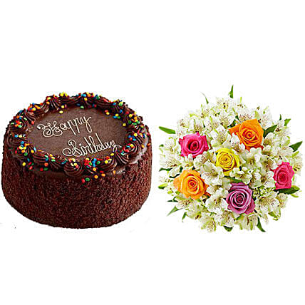 Chocolate Cake With Assorted Rose And Lily Bouquet Send Birthday Cakes To USA