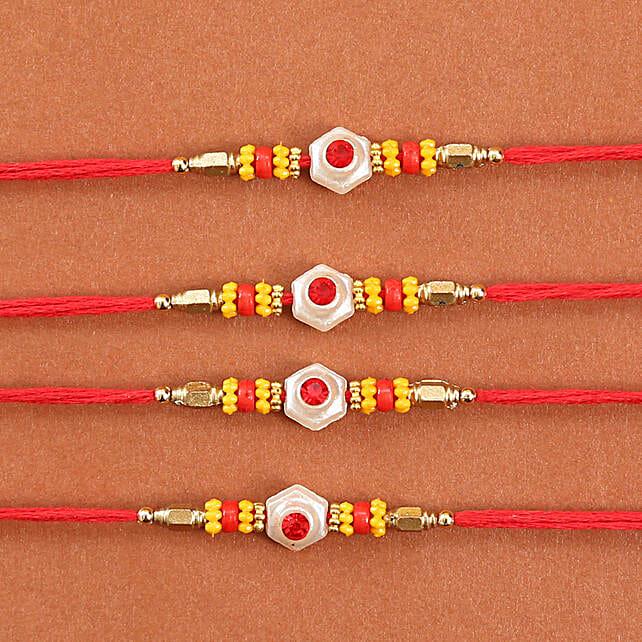 Colorful Rakhi Set Of 4: Set of 4 Rakhi to USA