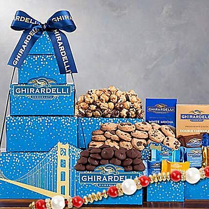 Ghirardelli Chocolate Company Tower With Rakhi: Pearl Rakhi Delivery in USA