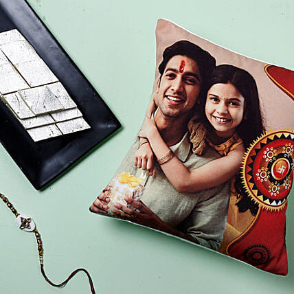Rakhi With Cushion And Kaju Katli: All Rakhi to USA