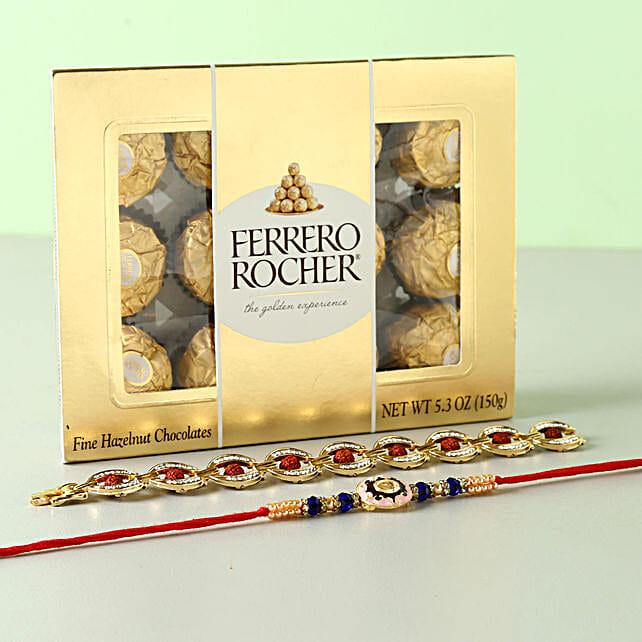 Set of 2 Rakhis And Ferrero Rocher Box: Send Designer Rakhi To USA