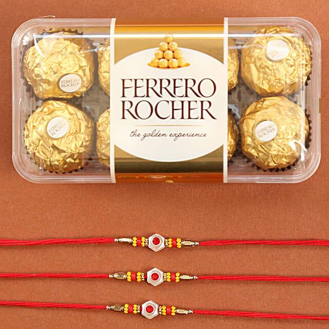 Set Of Traditional Rakhis With Rocher: Kids Rakhi to USA