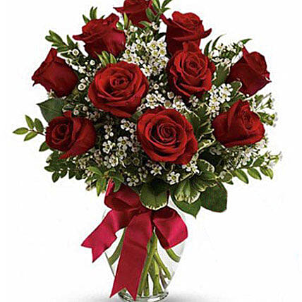 10 Red Roses Fresh Bouquet