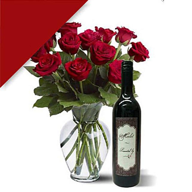 12 Roses N Wine Combo