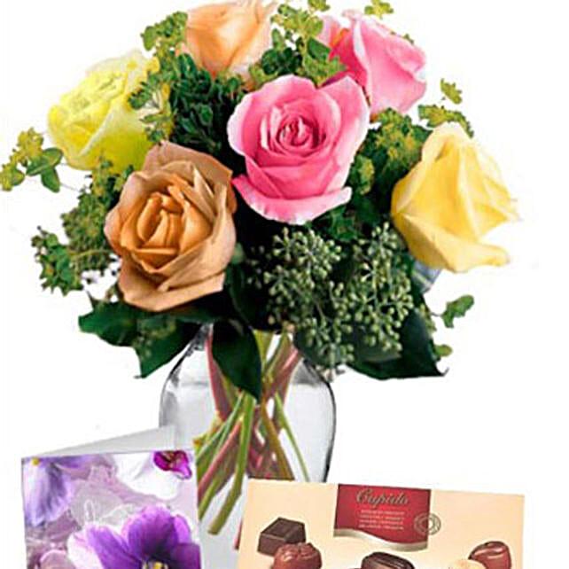 6 Mixed Roses Combo