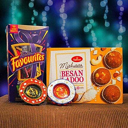 Besan Ladoo Cadbury Favourites and 2 Diya Set