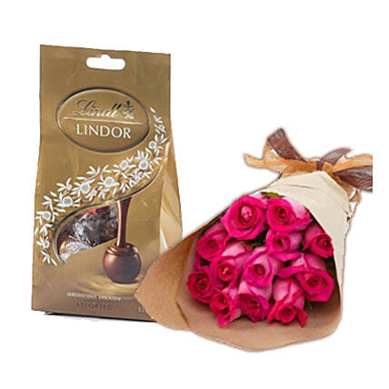 Dark Pink Roses N Chocolates