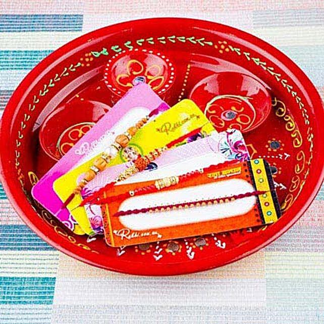 Four Rakhi With Traditional Thali