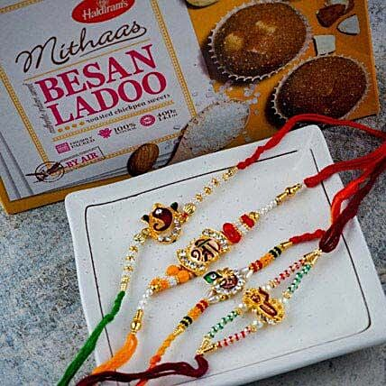 Great Brothers Four Rakhi Set With Besan Ladoo