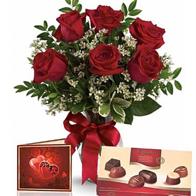 Half Dozen Roses With Chocolates