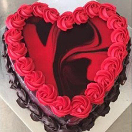 Heart Shaped Red Marble Cake