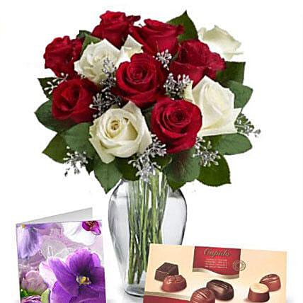 Red N White Roses With Chocolates