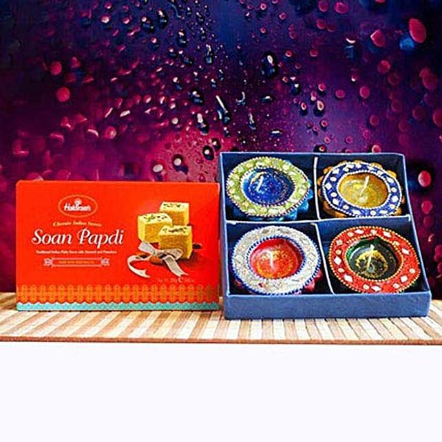 Soan Papdi With Traditional Diya