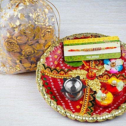 Thread Rakhi with Dry Fruits and Traditional Thali