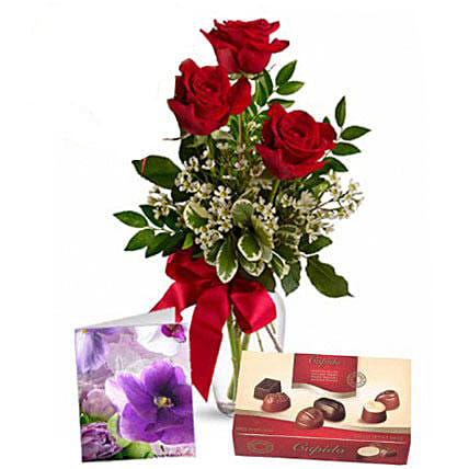 Three Red Roses With Chocolates