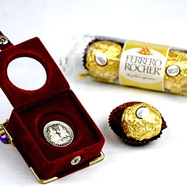 3 Ferrero Rocher And Silver Coin