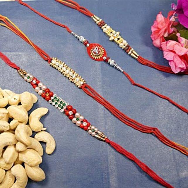 Beautiful Rakhi set of Four With Cashew