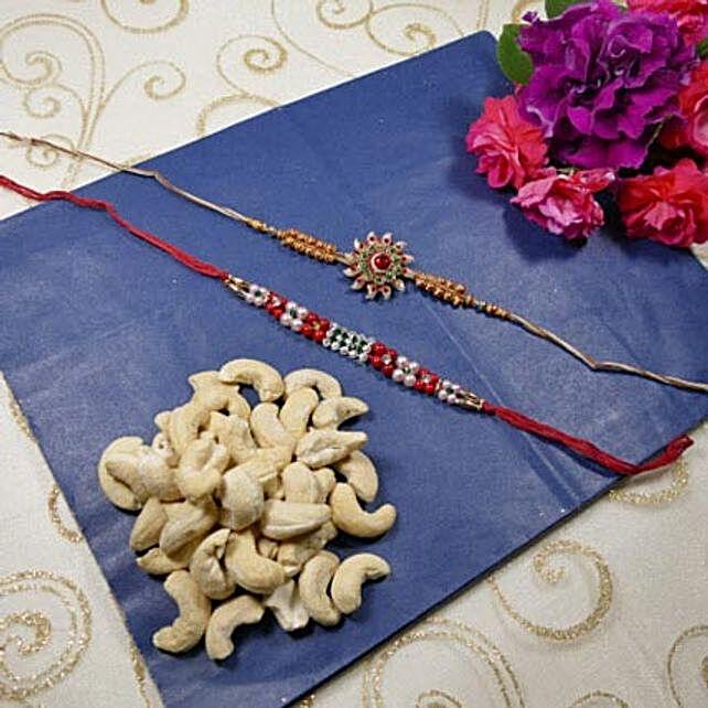 Beautiful Rakhi Set Of Two with Cashew