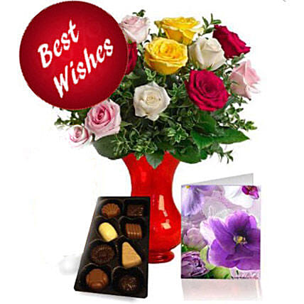 Best Wishes Roses N Chocolates