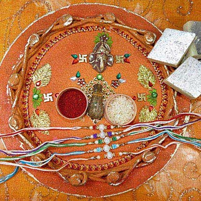 Colorful Rakhi Set Of Five Thali With Kaju Katli