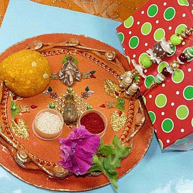 Creative Bhaiya Bhabhi Rakhi Thali With Boondi Laddu
