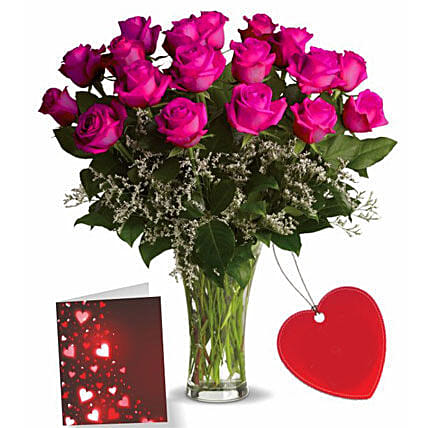 Eighteen Pink Roses With Card