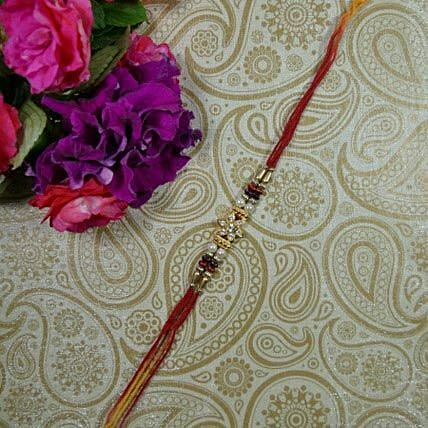 Golden Bead Flower Rakhi