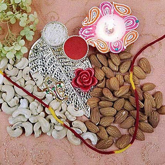 Metal Leaf Ganesh Thali Of Dry Fruits