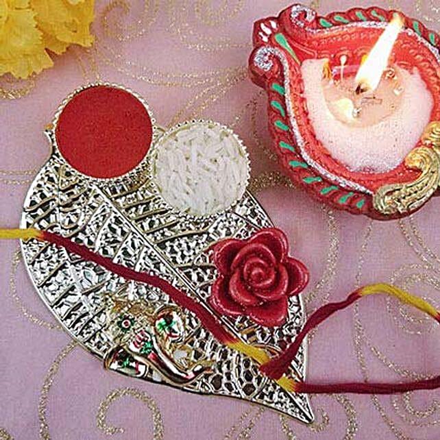 Metal Leaf Ganesha Festive Thali