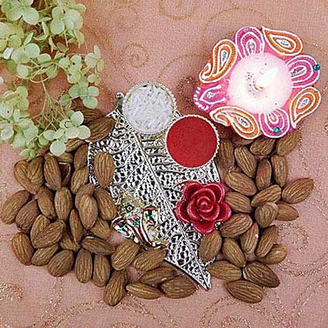 Metal Leaf Ganesha Thali Of Almonds