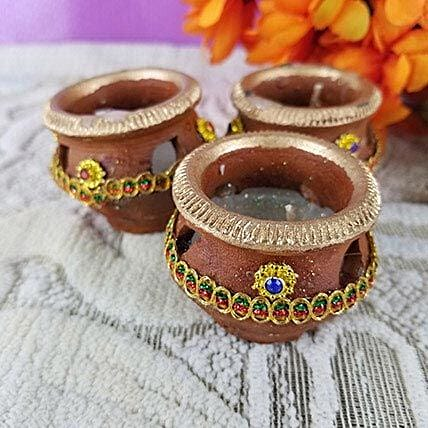 Set Of 3 Brown Diyas