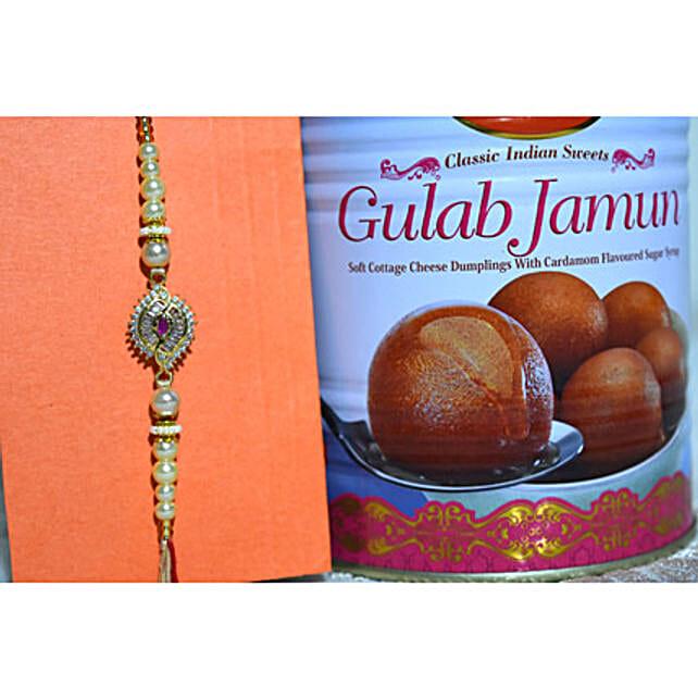 Shining White Rakhi N Gulab Jamun