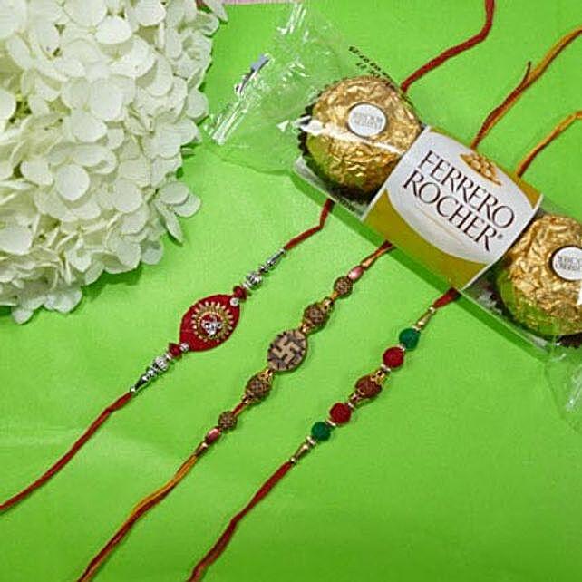 Traditional Rakhi Set Of Three With Rocher Ferrore