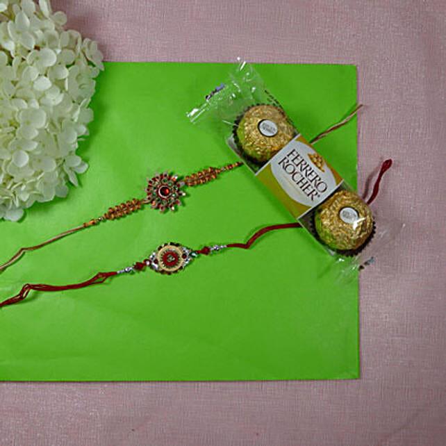 Trendy Rakhi Set Of Two With Ferrero Rocher