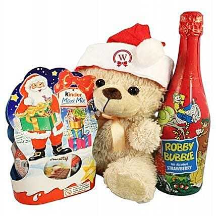 Christmas Kinder Teddy with Kids Champagne